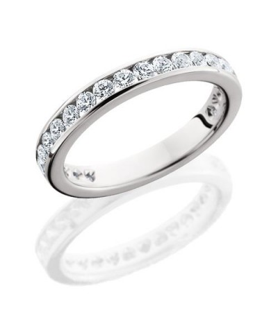 Rings - 1 Carat Round Brilliant Eternity Band 18Kt White Gold
