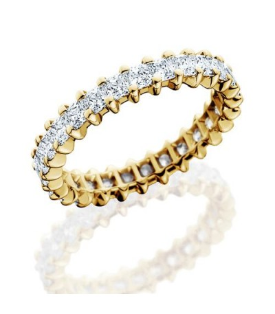 Rings - 2.30 Carat Princess Cut Diamond Eternity Band 18Kt Yellow Gold