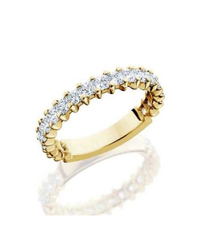 Rings - 1.70 Carat Princess Cut Diamond Eternity Band 18Kt Yellow Gold