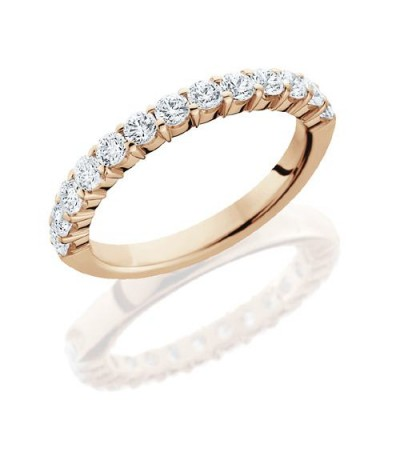 Rings - 0.72 Carat Round Brilliant Diamond Eternity Band 18Kt Rose Gold