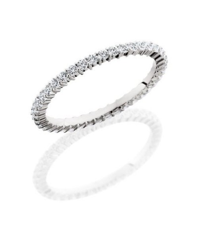 Rings - 0.60 Carat Round Brilliant Diamond Eternity Band 18Kt White Gold