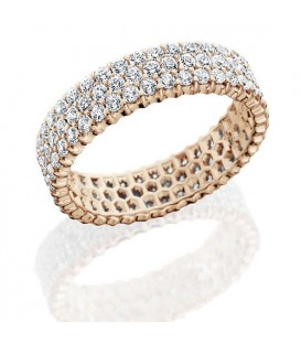 Rings - 3.06 Carat Round Brilliant Diamond Eternity Band 14Kt Rose Gold