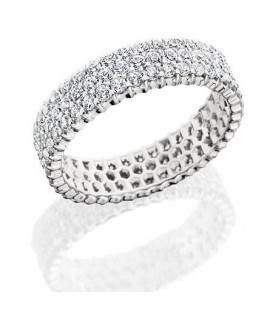 Rings - 3.06 Carat Round Brilliant Diamond Eternity Band 18Kt White Gold