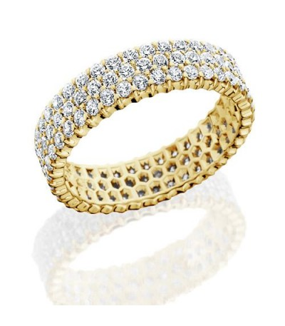 Rings - 3.06 Carat Round Brilliant Diamond Eternity Band 18Kt Yellow Gold
