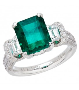 Rings - 5.15 Carat Emerald Cut Colombian Emerald and Diamond Ring 18Kt White Gold