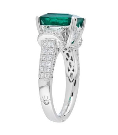 5.15 Carat Emerald Cut Colombian Emerald and Diamond Ring 18Kt White Gold