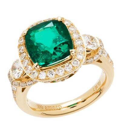 Rings - 6.28 Carat Cushion Cut Colombian Emerald and Diamond Ring 18Kt Yellow Gold