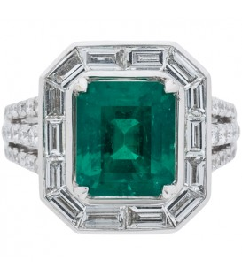Rings - 5.55 Carat Emerald Cut Colombian Emerald and Diamond Ring 18Kt White Gold