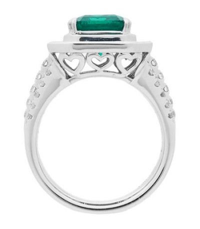 5.55 Carat Emerald Cut Colombian Emerald and Diamond Ring 18Kt White Gold