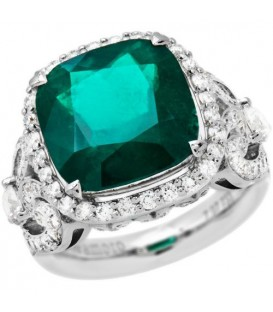 Rings - 9.81 Carat Cushion Cut Colombian Emerald and Diamond Ring 18Kt White Gold