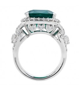 9.81 Carat Cushion Cut Colombian Emerald and Diamond Ring 18Kt White Gold