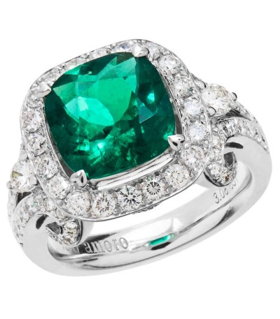 Rings - 4.30 Carat Cushion Cut Colombian Emerald and Diamond Ring 18Kt White Gold