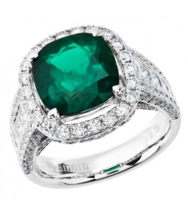 Rings - 7.74 Carat Cushion Cut Colombian Emerald and Diamond Ring 18Kt White Gold
