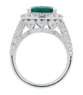 7.74 Carat Cushion Cut Colombian Emerald and Diamond Ring 18Kt White Gold