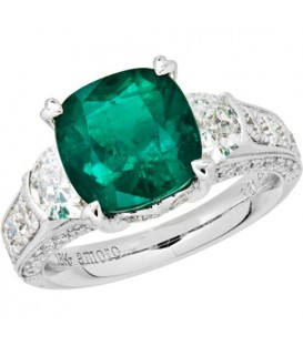 Rings - 5.47 Carat Cushion Cut Colombian Emerald and Diamond Ring 18Kt White Gold