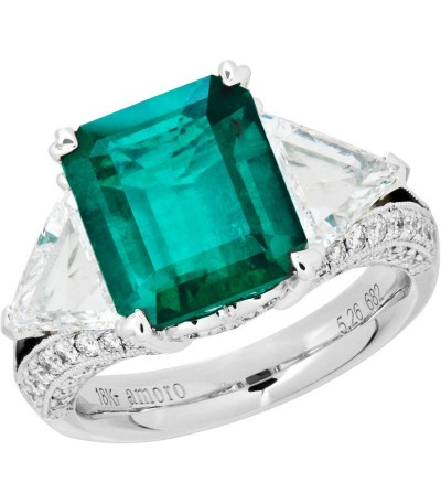 Rings - 7.73 Carat Emerald Cut Colombian Emerald and Diamond Ring 18Kt White Gold