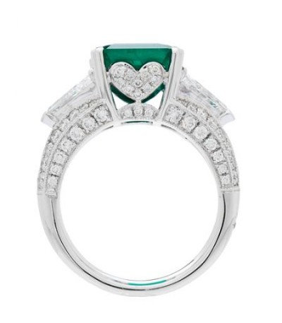 7.73 Carat Emerald Cut Colombian Emerald and Diamond Ring 18Kt White Gold