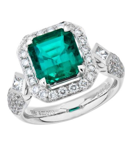 Rings - 3.89 Carat Emerald Cut Colombian Emerald and Diamond Ring 18Kt White Gold