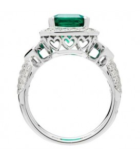 3.89 Carat Emerald Cut Colombian Emerald and Diamond Ring 18Kt White Gold