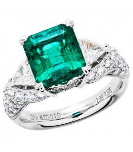 Rings - 4.44 Carat Emerald Cut Colombian Emerald and Diamond Ring 18Kt White Gold