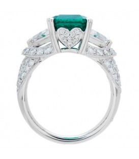 4.44 Carat Emerald Cut Colombian Emerald and Diamond Ring 18Kt White Gold