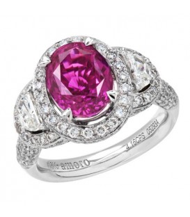 Rings - 5.76 Carat Cushion Cut Rare Pink Sapphire and Diamond Ring 18Kt White Gold