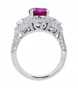 5.76 Carat Cushion Cut Rare Pink Sapphire and Diamond Ring 18Kt White Gold