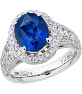 Rings - 7.32 Carat Oval Cut Ceylon Sapphire and Diamond Ring 18Kt White Gold