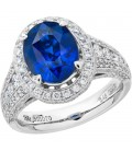 7.32 Carat Oval Cut Ceylon Sapphire and Diamond Ring 18Kt White Gold