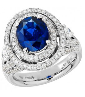 Rings - 5.14 Carat Cushion Cut Ceylon Sapphire and Diamond Ring 18Kt White Gold
