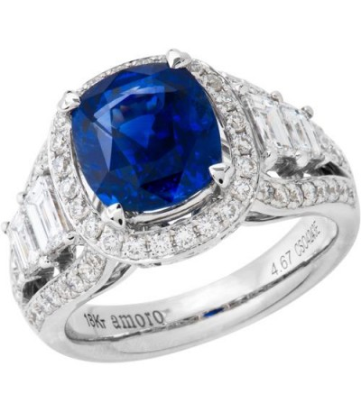 Rings - 6.43 Carat Cushion Cut Ceylon Sapphire and Diamond Ring 18Kt White Gold