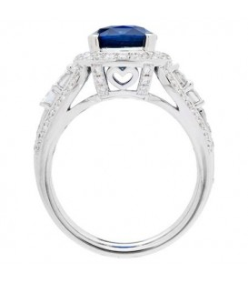 6.43 Carat Cushion Cut Ceylon Sapphire and Diamond Ring 18Kt White Gold