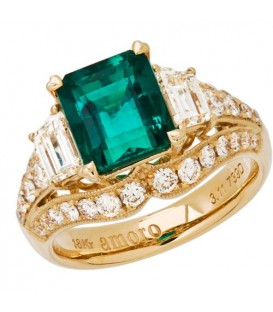 Rings - 5.15 Carat Emerald Cut Colombian Emerald and Diamond Ring 18Kt Yellow Gold