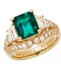 5.15 Carat Emerald Cut Colombian Emerald and Diamond Ring 18Kt Yellow Gold