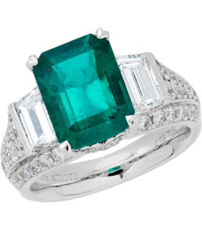 Rings - 5.94 Carat Emerald Cut Colombian Emerald and Diamond Ring 18Kt White Gold