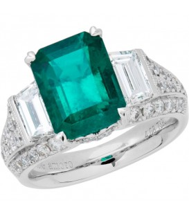More about 5.94 Carat Emerald Cut Colombian Emerald and Diamond Ring 18Kt White Gold