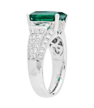 5.94 Carat Emerald Cut Colombian Emerald and Diamond Ring 18Kt White Gold