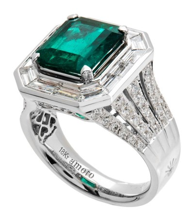 Rings - 6.43 Carat Emerald Cut Colombian Emerald and Diamond Ring 18Kt White Gold