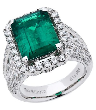 Rings - 7.97 Carat Emerald Cut Colombian Emerald and Diamond Ring 18Kt White Gold