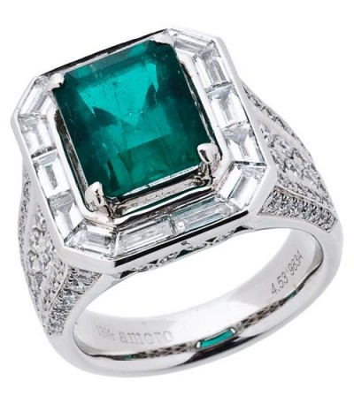 Rings - 6.62 Carat Emerald Cut Colombian Emerald and Diamond Ring 18Kt White Gold