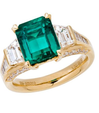 Rings - 5.06 Carat Emerald Cut Colombian Emerald and Diamond Ring 18Kt Yellow Gold