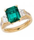 5.06 Carat Emerald Cut Colombian Emerald and Diamond Ring 18Kt Yellow Gold