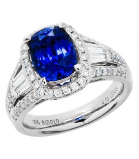 Rings - 5.27 Carat Cushion Cut Ceylon Sapphire and Diamond Ring 18Kt White Gold