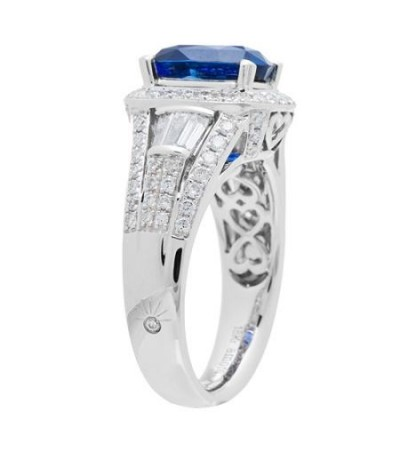 5.27 Carat Cushion Cut Ceylon Sapphire and Diamond Ring 18Kt White Gold