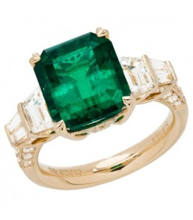 Rings - 7.75 Carat Emerald Cut Colombian Emerald and Diamond Ring 18Kt Yellow Gold