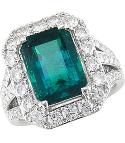 Rings - 6.82 Carat Emerald Cut Colombian Emerald and Diamond Ring 18Kt White Gold