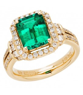 Rings - 3.01 Carat Emerald Cut Colombian Emerald and Diamond Ring 18Kt Yellow Gold