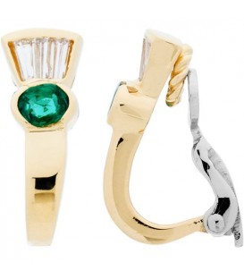 More about 0.83 Carat Oval and Baguette Cut Emerald & Diamond Earrings 18Kt Two-Tone Gold