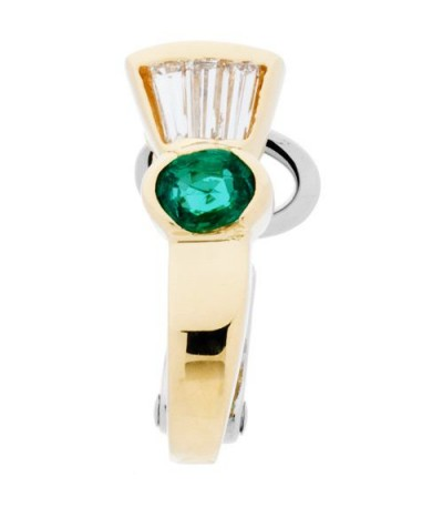 Earrings - 0.83 Carat Oval and Baguette Cut Emerald & Diamond Earrings 18Kt Two-Tone Gold