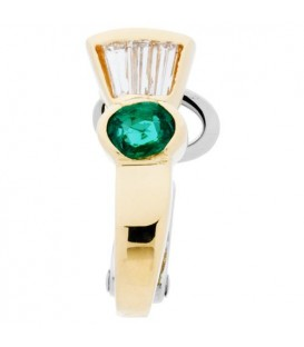0.43 Carat Oval and Baguette Cut Emerald & Diamond Earrings 18Kt Two-Tone Gold